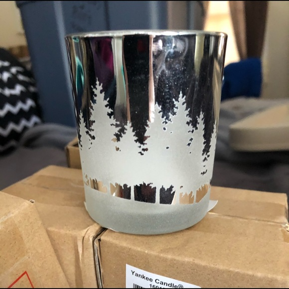 Four-Yankee candle votive silver candle holders